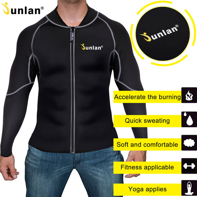 6f3599a8ae Junlan Men Slim Waist Neoprene Bodysuit Workout Zipper Tops Long Sleeves Reducing  Shapewear Fitness Hot Shapers Body Control