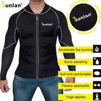 Junlan Men Slim Waist Neoprene Bodysuit Workout Zipper Tops Long Sleeves Reducing Shapewear Fitness Hot Shapers Body Control