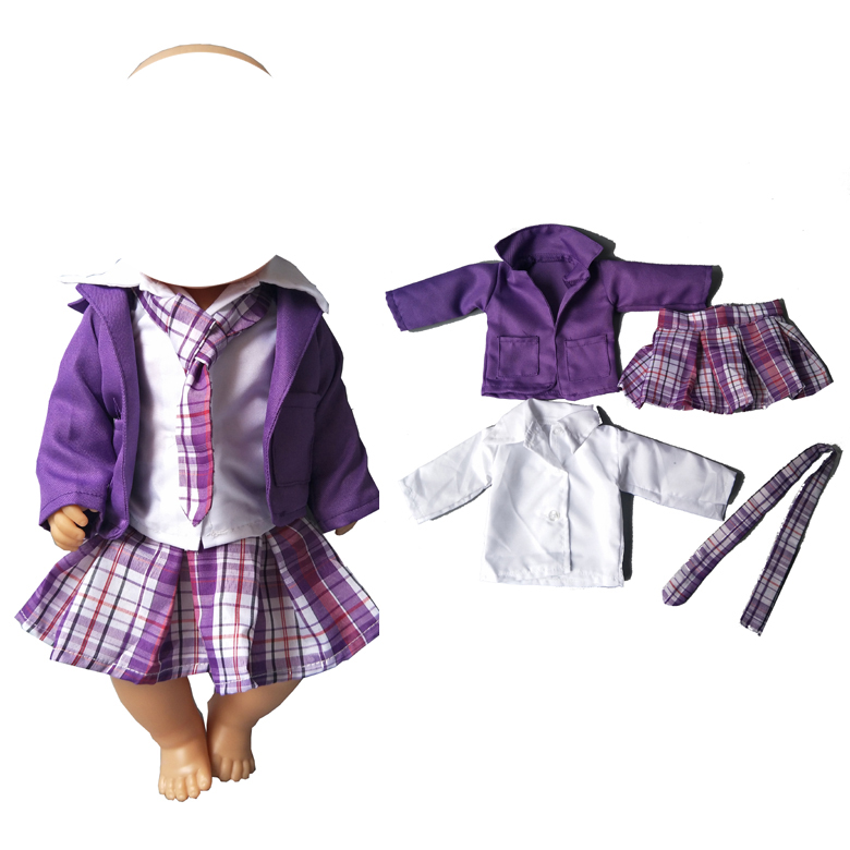Purple Clothes Shirt Dress Suit Set for 43cm baby dolls for 18 inch girl doll outsuit