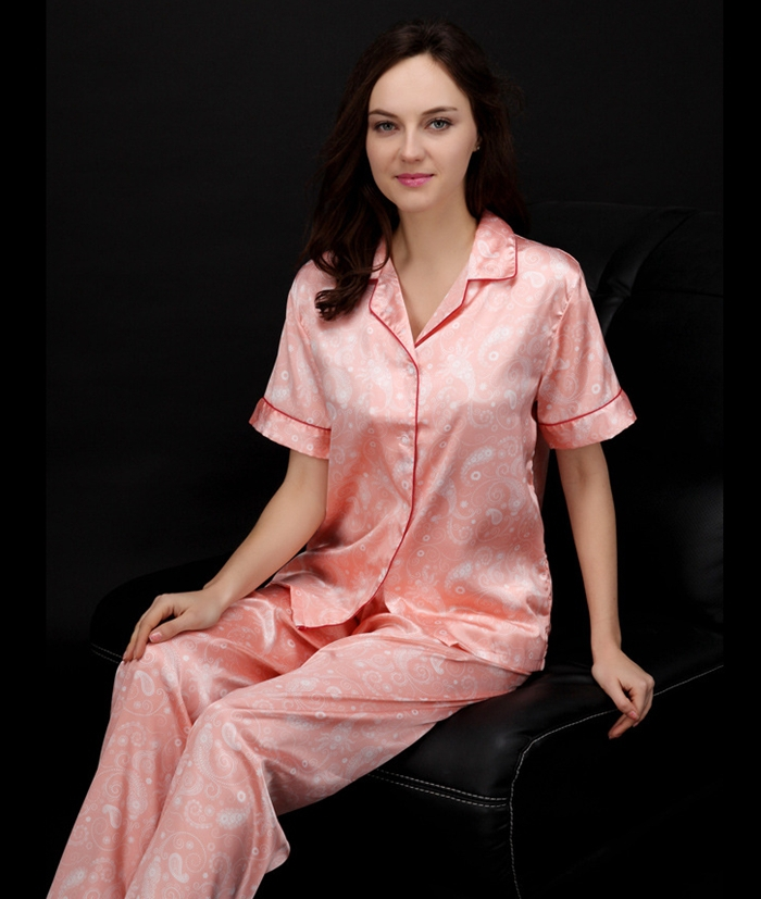 women pajamas summer style print silk short sleeve top. Black Bedroom Furniture Sets. Home Design Ideas