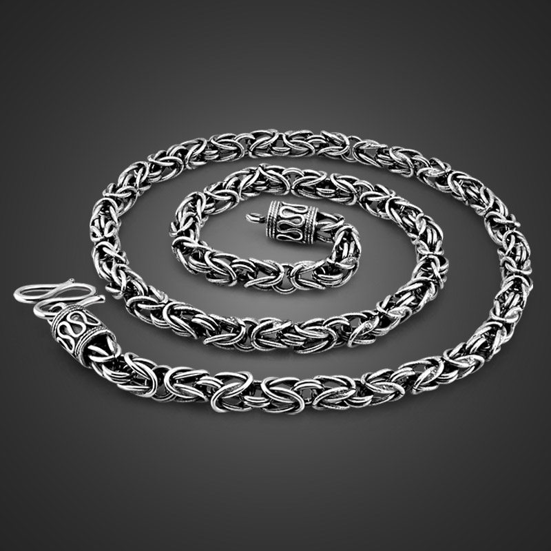 Винтажный стиль 925, тайское серебряное ожерелье, мужское специальное ожерелье с шипами, размер 6mm61cm, мужское однотонное серебряное ожерелье,