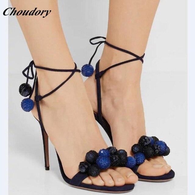 63abc9413146b2 Choudory Lace Up Frauen Gladiatoren Offene spitze Knöchel Riemchen High  Heels Sandalen Kleid Schuhe Frau Stiletto