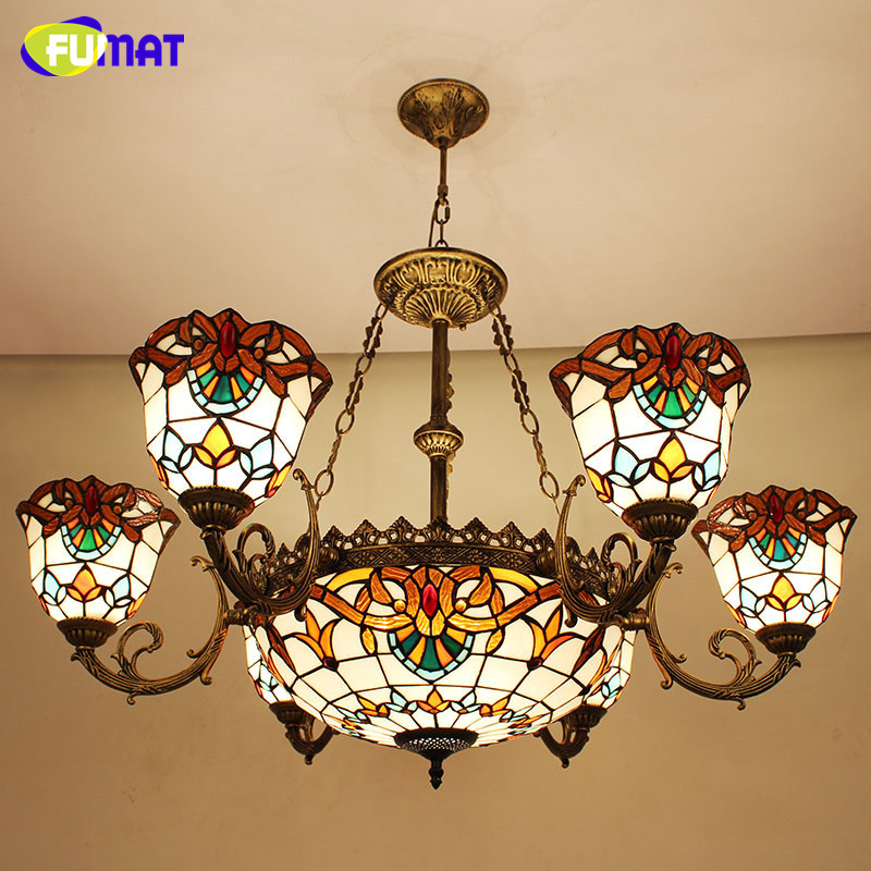 FUMAT Stained Glass Pendant Lamps European Style Baroque Lights For Living Room Bedroom Creative Art Shade LED Pendant Lamp купить