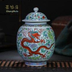 Changwuju in Jingdezhen Fijne Thee doos handgeschilderde blauw en wit botsende kleur thee cannister evenals opslag jar en vaas