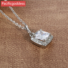 pacificgoddess hot sell stainless steel cz stone pendant chains Necklace elegant bijou for pretty girl