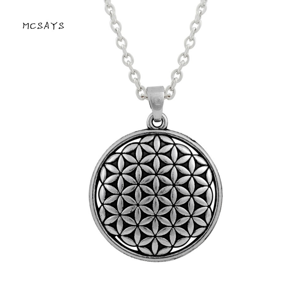 MCSAYS Viking Jewelry Life Flower Round Pendant Antique Viking Necklace Mens Fashion Accessories Special Design Gifts 4SL
