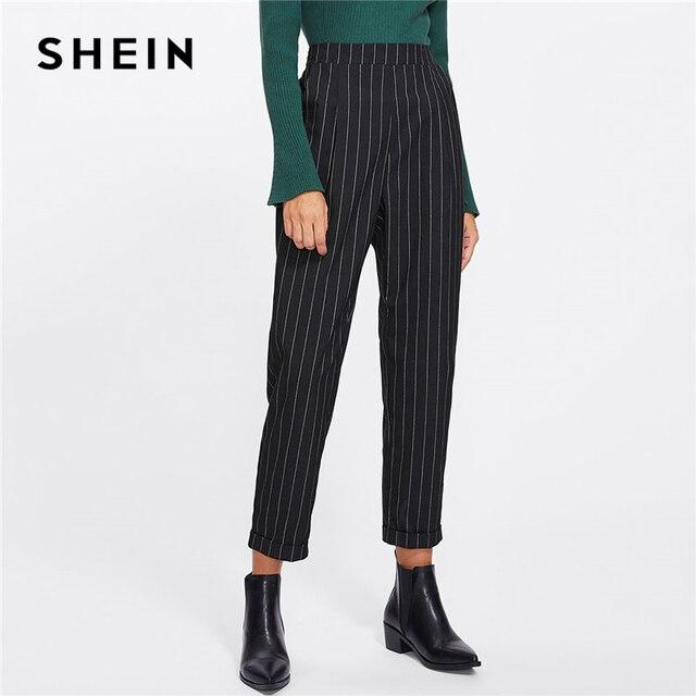 Шеин Cuffed нога в тонкую полоску Peg брюки Для женщин Мода Костюмы Высокая Талия работы брюки 2018 новые весенние Повседневное штаны с эластичной резинкой на талии