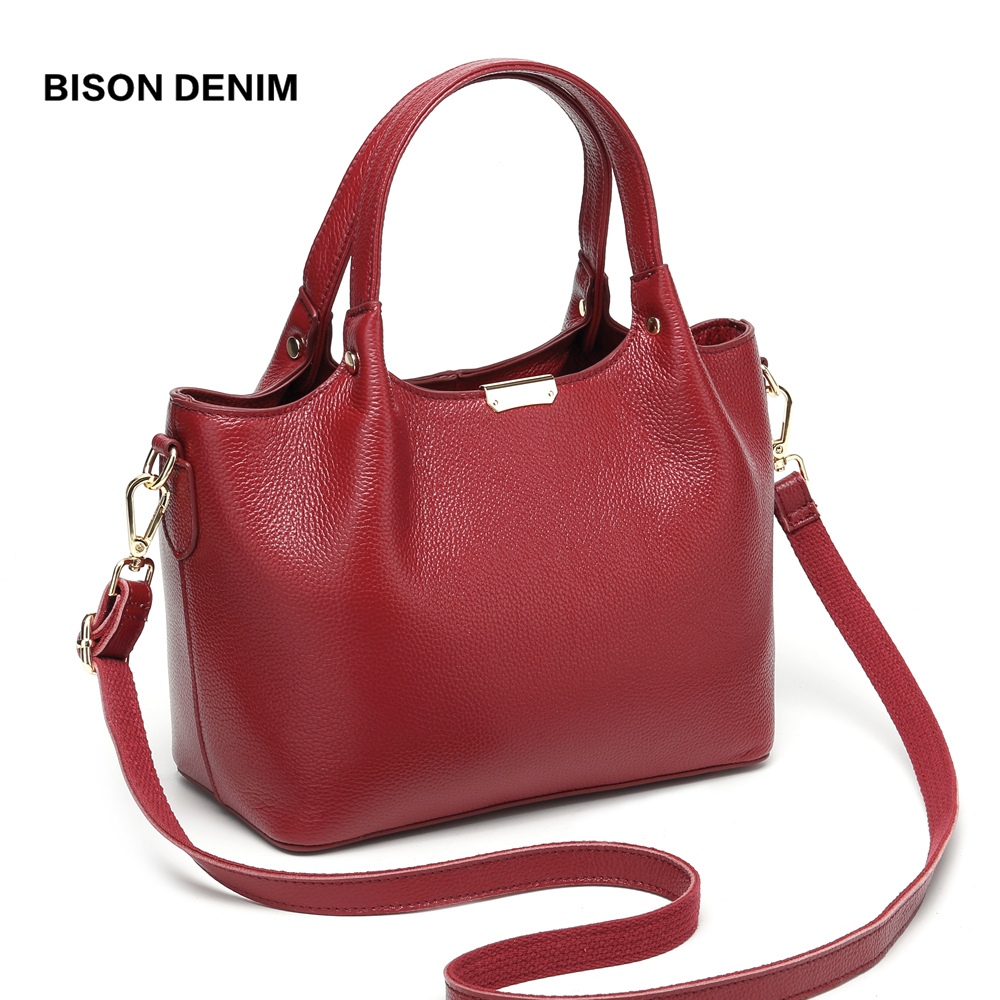 BISON DENIM Genuine Leather Luxury Handbags Women Bags Designer Women Tote Bag Casual top handle bag