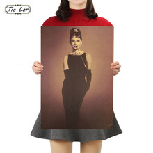 TIE LER Audrey Hepburn Vintage Kraft Paper Classic Nostalgia Poster Home Decor Wall Sticker 50.5X35cm(China)