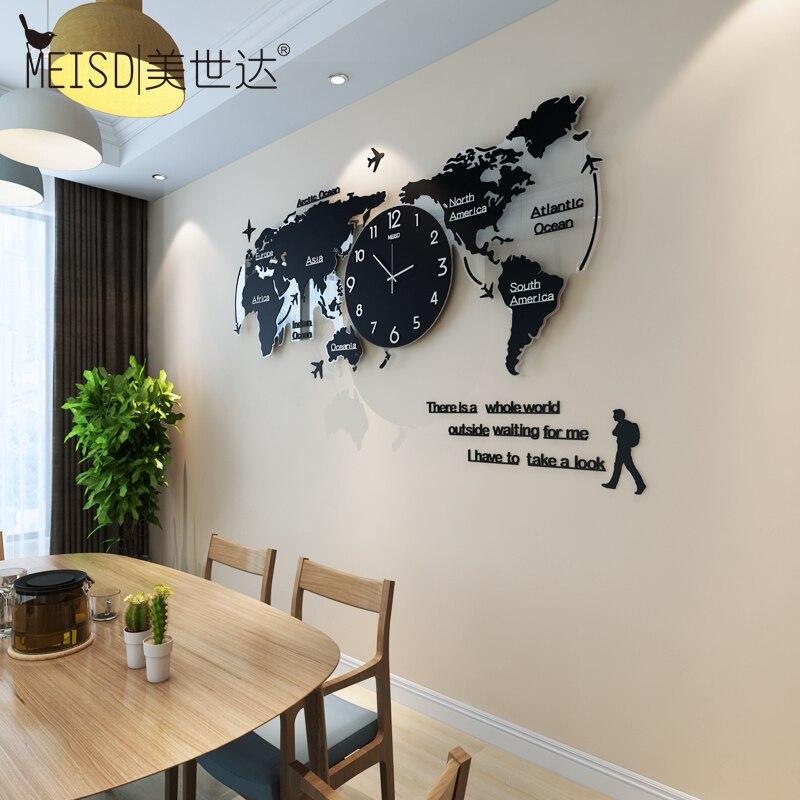 Grande carte du monde Luminova horloges murales Design moderne 3D numérique lueur dans l'obscurité horloge suspendue Ultra silencieux montre acrylique livraison gratuite - 2