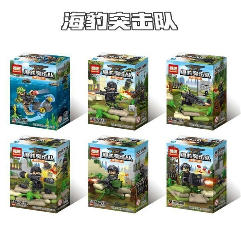 6pcs lot Navy Seals Team MILITARY US Army UDT W2 Special Force SWAT Soldier Building Blocks