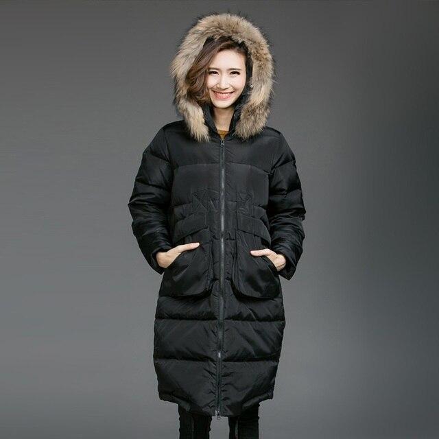 2016 casaco de Inverno com capuz Wadded casaco feminino plus size gola de pele grossa quente longo de algodão-acolchoado do revestimento do revestimento outwear parkas 5XL8253