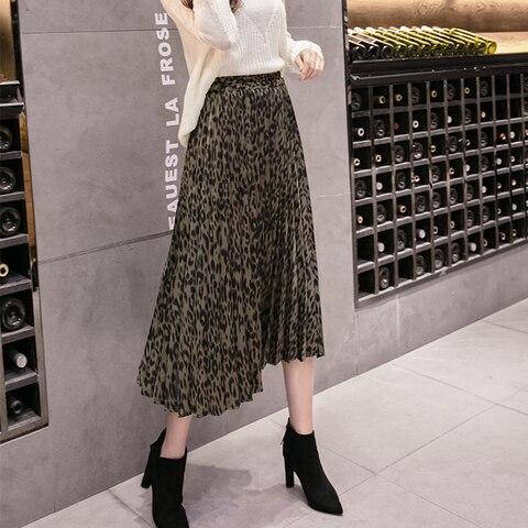 TIGENA Fashion Leopard Skirts Women with Lined 2019 Autumn Winter High Waist Pleated Midi Long Skirts Female Korean Skirt Ladies Karachi