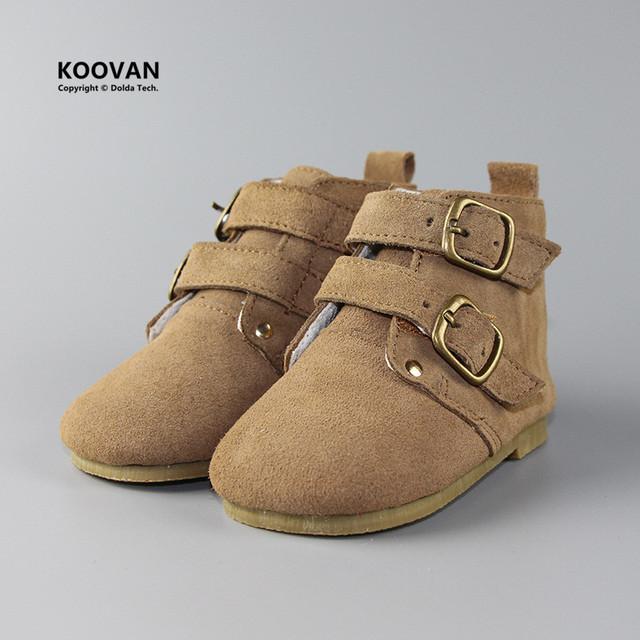 Koovan niños botas 2017 botas de tubo de martin de cuero de corea del otoño invierno de los niños muchachas de los muchachos del bebé espesar shoes cerrojo