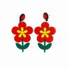 Red Flower Stud Earrings Women Long Summer Fashion Jewelry 2019 New Design