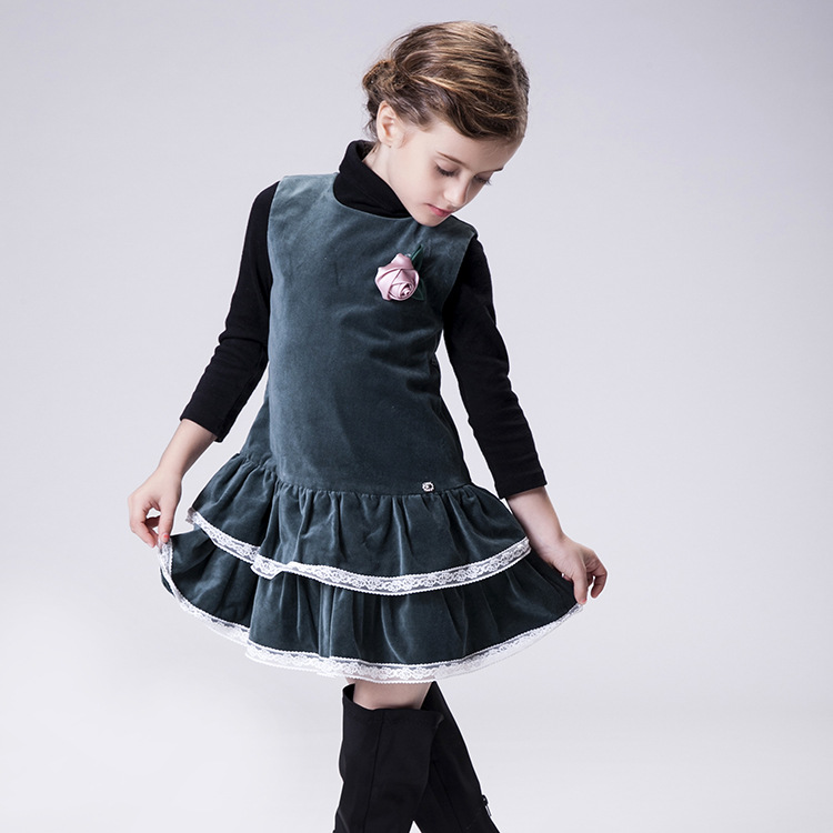 ФОТО Children Dresses New Fashion 2016 Candydoll Flower Cotton Lace Sleeveless Kids Girls Autumn Dress
