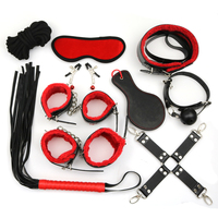 Mayamang 10PCS/SET Leather Adult Games Bdsm Bondage Restraint Sex Products Handcuffs Nipple Clamp Whip Collar Erotic Toy Couples