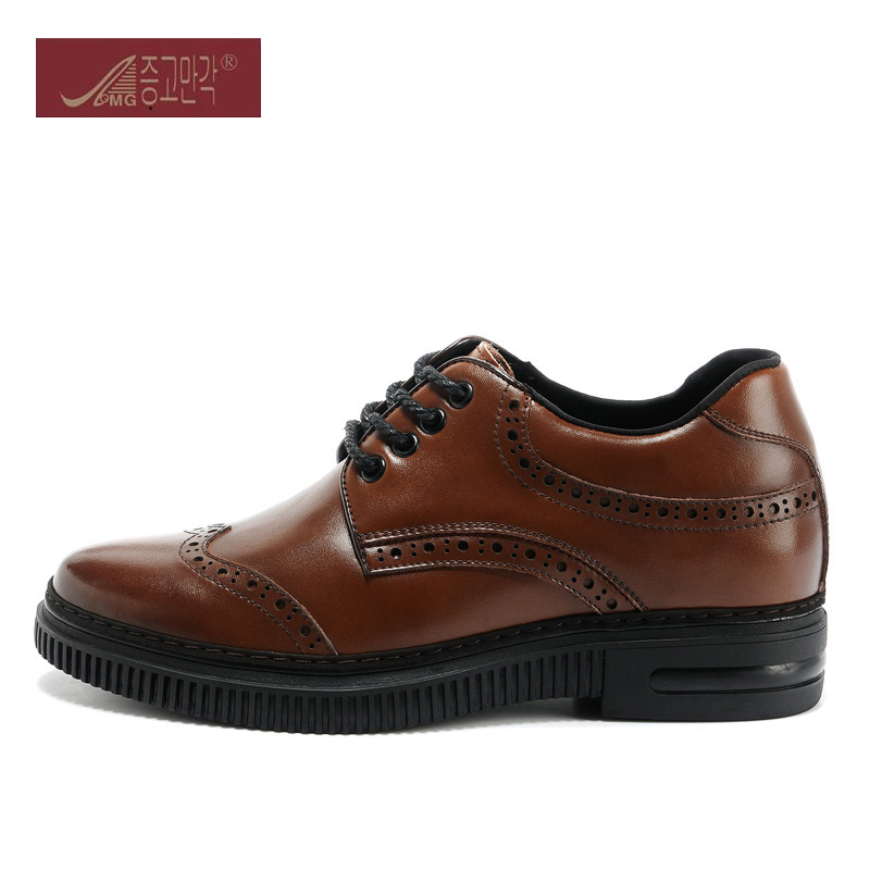 New Classic Brouge Leather Height Increase Elevated Shoes In Hidden Inserts Grow Taller 6CM Color Black / Brown