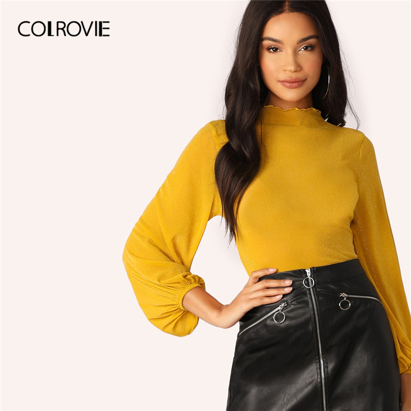 COLROVIE Ginger Lantern Sleeve Lettuce Trim Sheer Glitter   Blouse     Shirt   Women Clothes 2019 Spring Stand Collar   Shirts   Ladies Tops