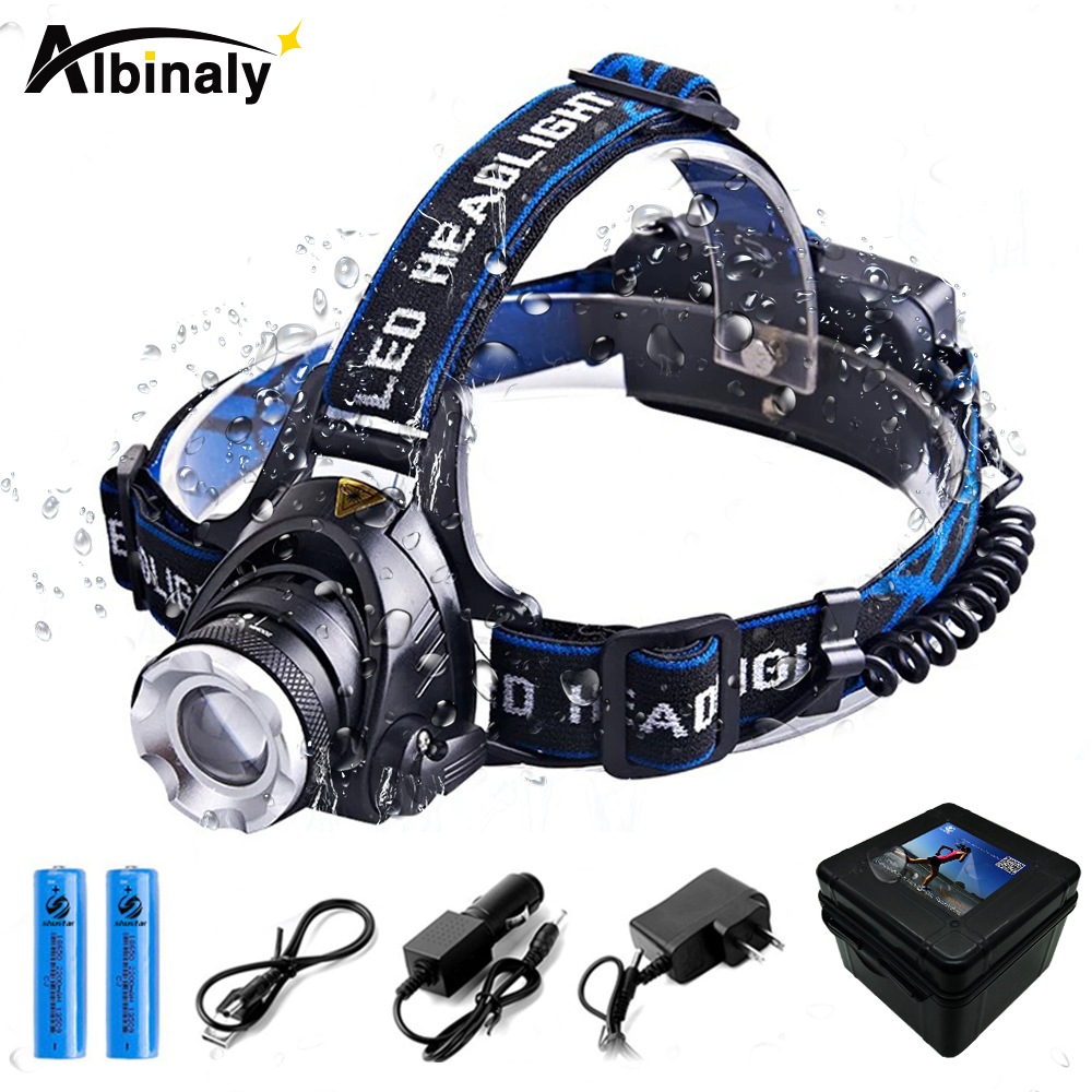 Super bright Led Headlamp T6 L2 Led lamp bead Zoomable Headlight Waterproof Head Torch Head lamp Fishing Hunting Light