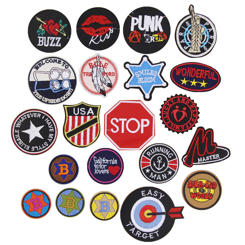1 pcs patch English letters emblem embroidered iron on patches cloth accessories popular clothing bag hat Patches Appliques emblem