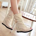 2016 New summer women sandals white gauze sexy hollow out cool boots big yards 42 43 r women's shoes wedges Roman sandals
