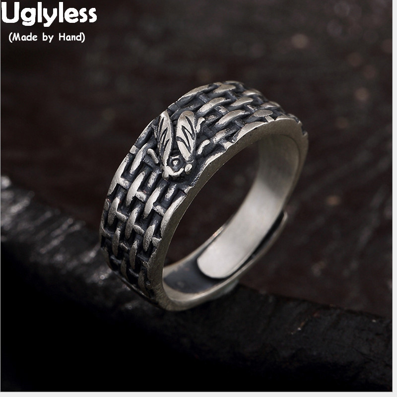 Silver hand made textured ring Hand carved textured silver ring for women/'s