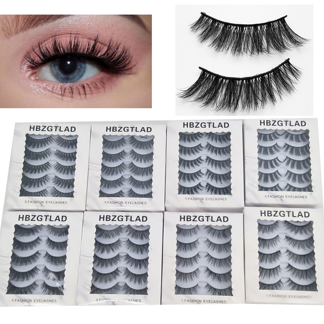 HBZGTLAD 5 Pairs/1box 3D Mink Eyelash Faux Lashes Extensions Natural Thick False Eyelashes Stage Makeup Fake Big Eye Lashes