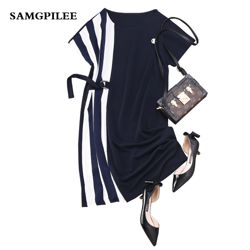 2019 Sale New A line Striped Short Sleeve Sashes Knee length Fashion Natural O neck Summer Women Dress L 4xl in Dresses from Women 39 s Clothing