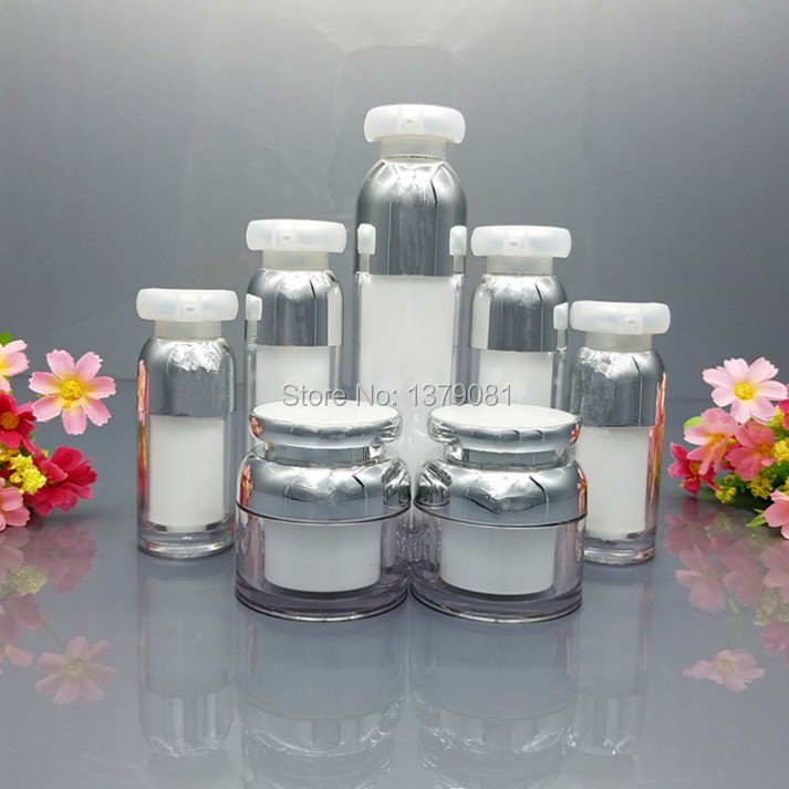 High Quality 15g,30g,50g White Acrylic Cream Jar Empty Cosmetic Packing Container Lotion Pump airless Bottle Silver collar high quality 5g 10g 30g acrylic cream jar purple pink color empty cosmetic packing container goblet shape sample tins