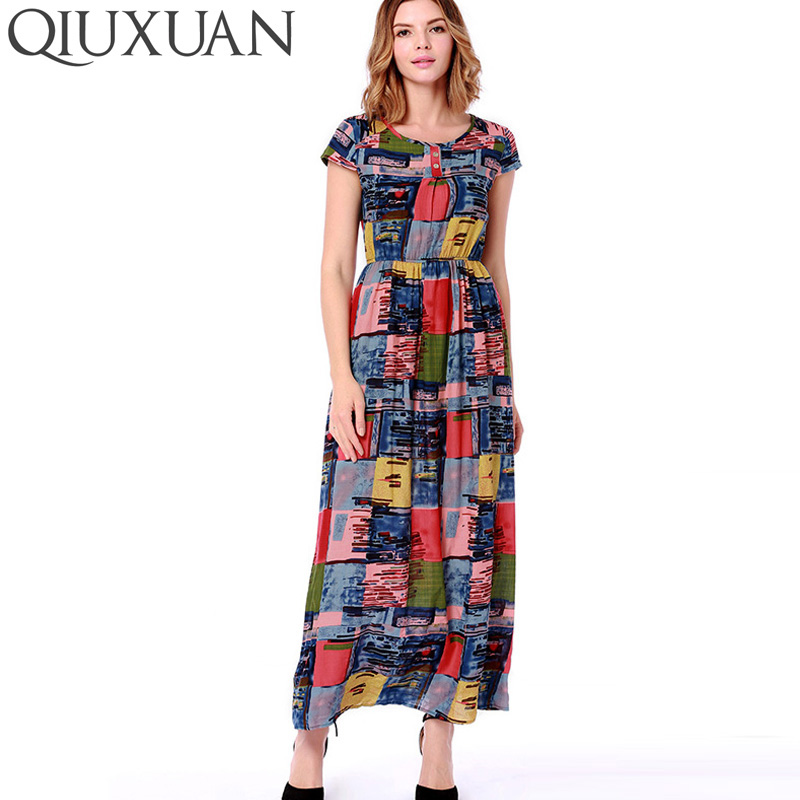 QIUXUAN New Long Maxi Dress Women Short Sleeve O Neck Summer Holiday Bohemian Boho Dress Elegant Club Party Dresses