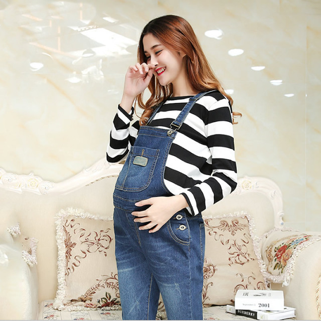 Women Maternity Autumn Soft Denim Overalls Adjustable Jumpsuit Fit Belly Pants fashion jeans for pregnant Blue Denim Overalls