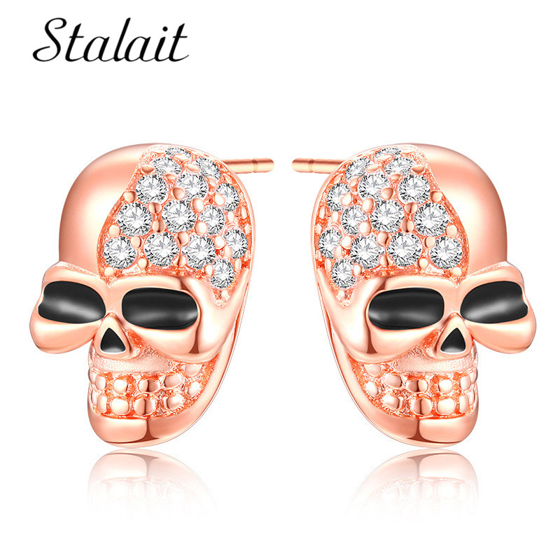Us 1 62 30 Off Hot Punk Rose Gold Skull Earrings For Women Cool Silver Jewelry Hip Hop Stud Vintage Rock Skeleton In