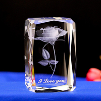 Crystal engraved Gifts 3D Rose Flower Colorful LED Led table Lamps girls bedside lamp 3D Laser engraved crystal cube