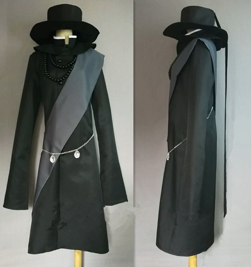 New Arrivel Black Butler Undertaker Cosplay Costume Halloween Full Set Customized Size Free Shipping