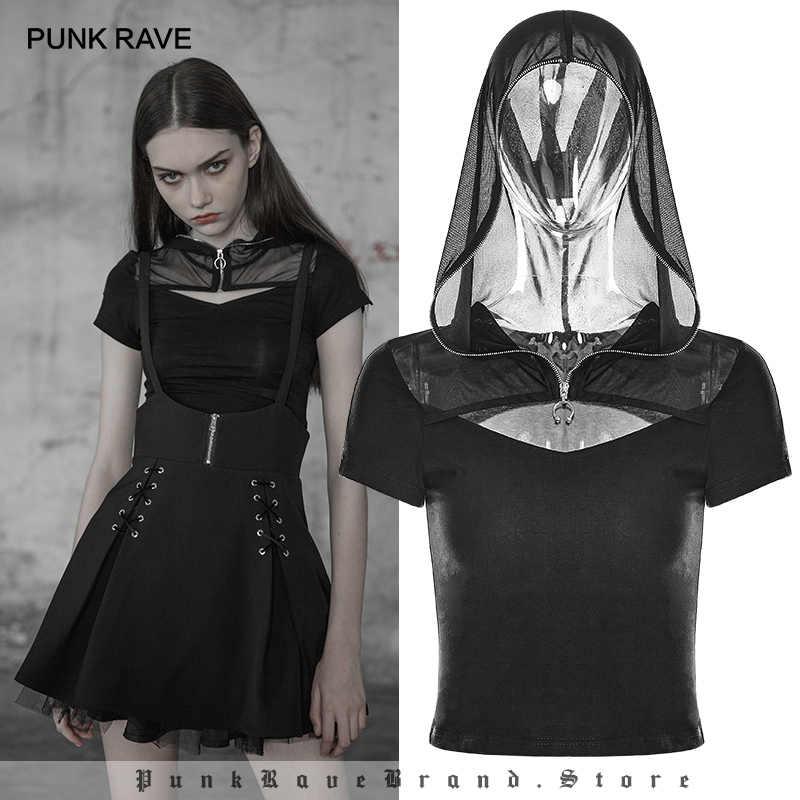 28c3f8710f857 PUNK RAVE New Gothic Women Elastic Sexy Short Tight Knit Black T-shirt Punk  Personality