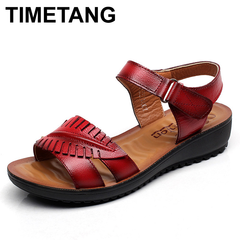 TIMETANG 2017 Leather Gladiator Sandals Comfort Creepers Platform Casual Shoes Woman Summer Style Mother Women Shoes XWD5583 phyanic 2017 gladiator sandals gold silver shoes woman summer platform wedges glitters creepers casual women shoes phy3323