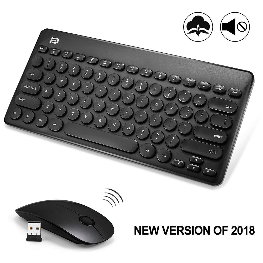 FD Wireless Keyboard and Mouse 2.4GHz Mini Ultra Slim for Mac Notebook Laptop Computer Desktop Office Gaming Russian Stickers