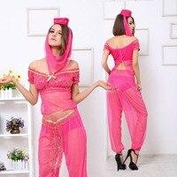 Aladdin GENIE Jasmine Princess Costume Arabic Dance Costume Sexy Women Fancy Dress Arabian Belly Dancer Dress