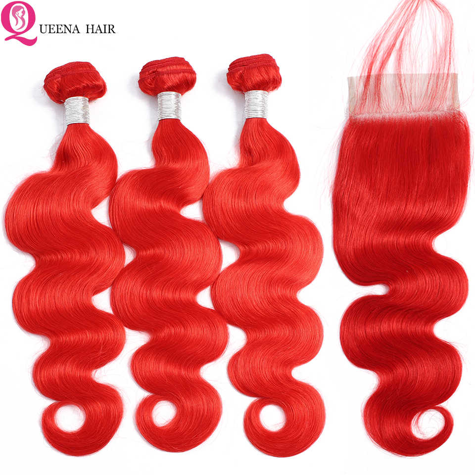 Queena Hair Red Bundles With Lace Closure Colored Body wave Human Hair Bundles With Closure Remy Brazilian Hair Weave Bundles