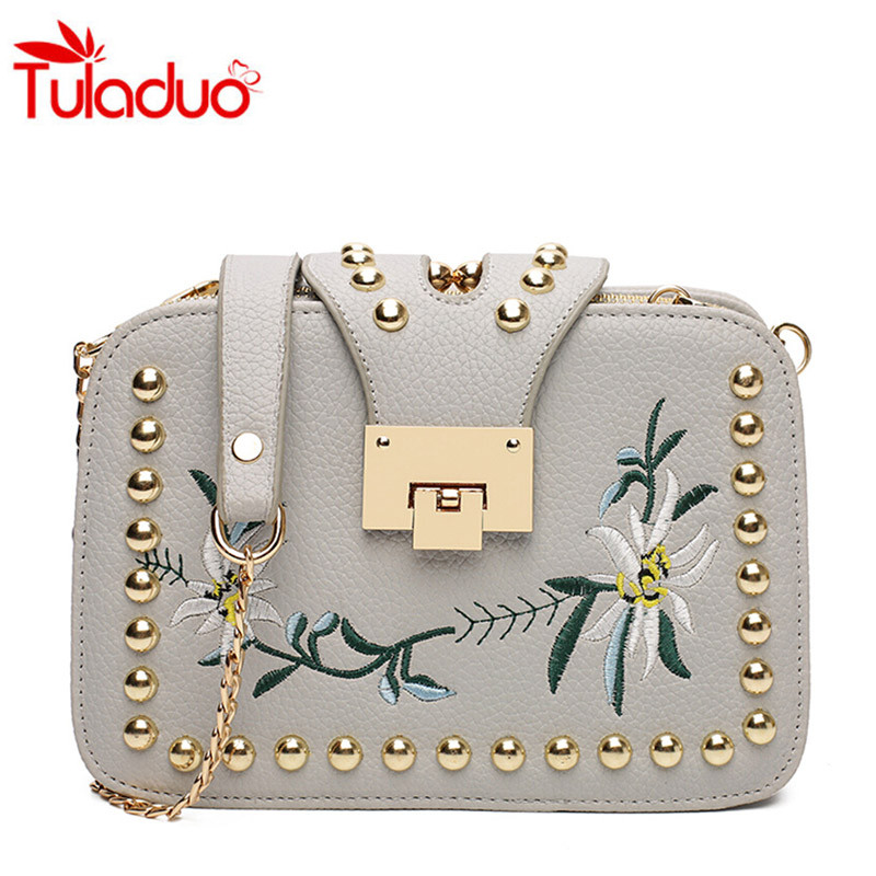 Women Crossbody Bag 2017 Fashion Embroidery Rivet Sequined Chains Ladies Flap Bag Womens Messenger Bags Femme Shoulder Bags Sac