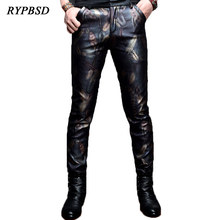 2019 New PU Faux Leather Pants Men Fashion Nightclub Club Skinny Motorcycle Military Feathers Printed
