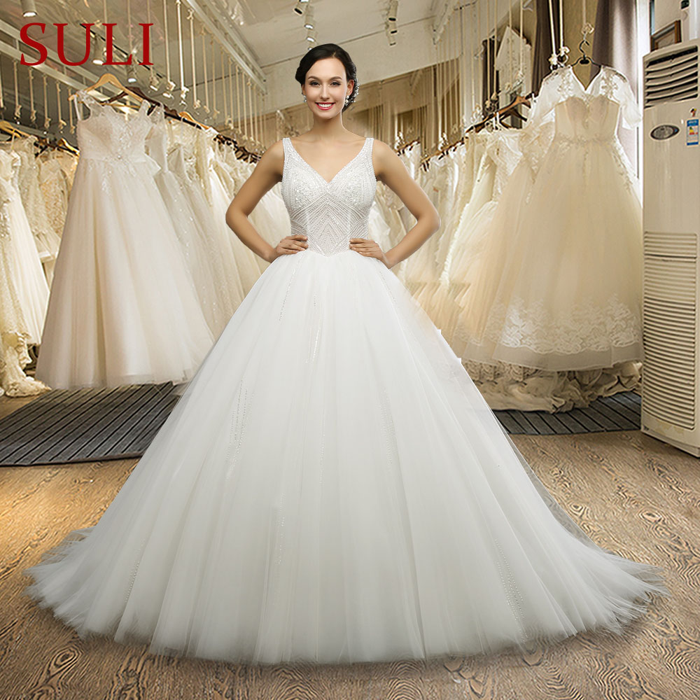 SL 042 Princess Ball Gown Wedding Dress Pearls Crystal Ivory Bride Dresses Tulle