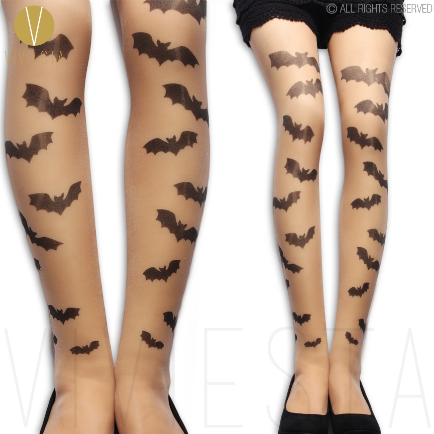 bat pattern tattoo tights 20d womens sexy gothic goth punk metal fashion style halloween print - Halloween Tights For Women