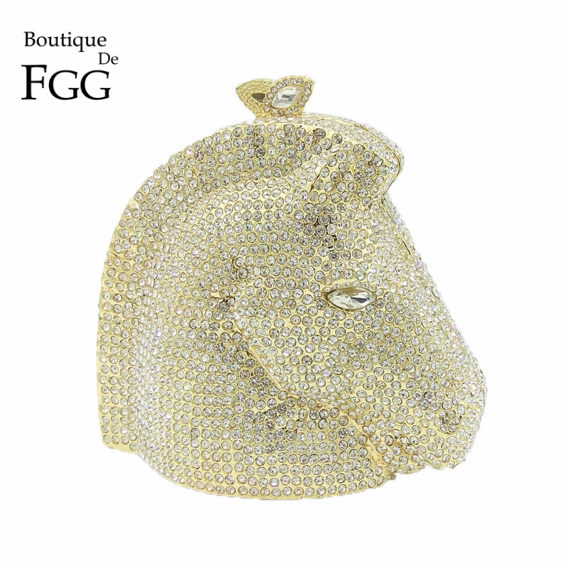 Boutique De FGG Silver Diamond Horse Women Crystal Animal Evening Clutch Bag Metal Minaudiere Handbag Bridal Wedding Party Purse