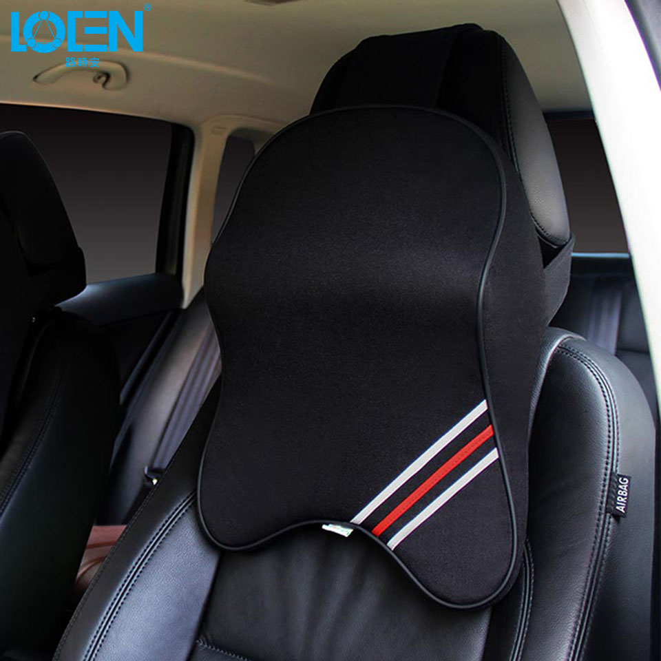 loen leather or cotton 3d car seat cover neck support pillow headrest for hyundai toyota vw. Black Bedroom Furniture Sets. Home Design Ideas