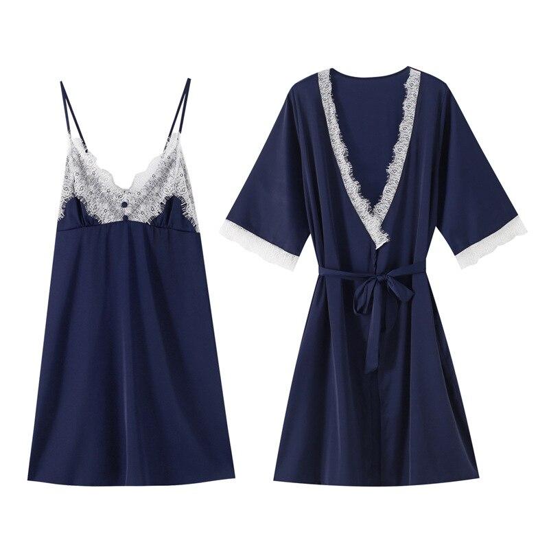 901fe6f2cdd8c الأزياء الصينية سيدة الحرير رداء رايون الجلباب دعوى 2 PCS كامي + رداء مثير  الدانتيل تقليم كيمونو ثوب بيجامة feminino حجم S-XXXL S0004-C