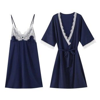Fashion Chinese Lady Satin Robe Rayon Robes Suit 2PCS Cami+Robe Sexy Lace Trim Kimono Gown pajama feminino Size S-XXXL S0004-C цена 2017