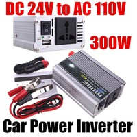 DC 24V to AC 110V 300W Car Power Inverter Truck Boat USB Power Converter voltage Transformer Modified Sine Wave