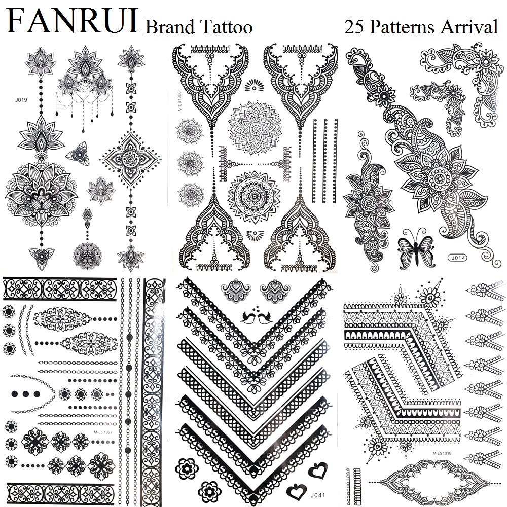 Henna Style Tattoos Lace Tattoo: Summer Style Black Henna Mandala Temporary Tattoo Stickers